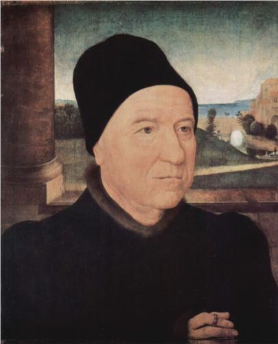 Portrait of an Old Man - Hans Memling. 1470-75. Oil on panel. 34 x 29 cm. Gemaldegalerie, Staatliche Museen zu Berlin, Berlin, Germany.