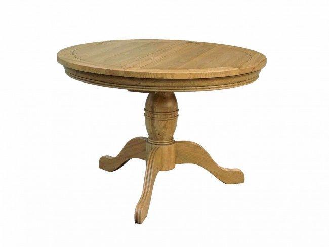 Round Extending Oak Pedestal Table