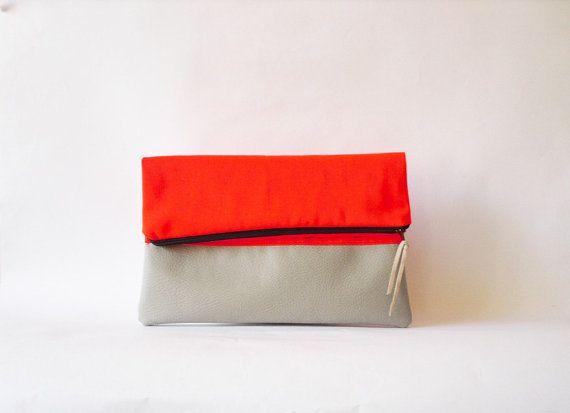 SALE Neon Clutch , Foldover  Vegan leather, Neon Orange Color Block on Etsy, $25.00