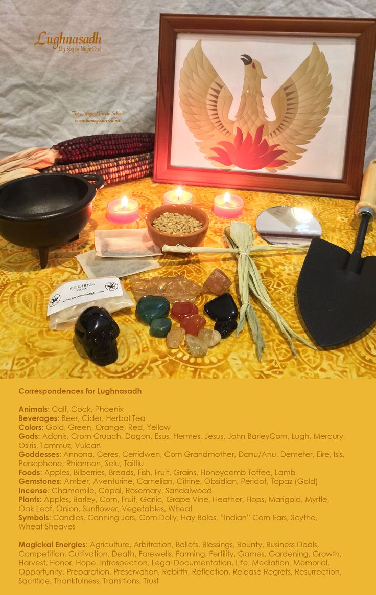 My correspondences chart for the sabbat Lughnasadh with altar. - By Skyla NightOwl - The Magical Circle School - www.themagicalcircle.net