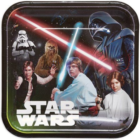 """Star Wars 9"""" Square Plate, 8 Count, Party Supplies - Walmart.com"""