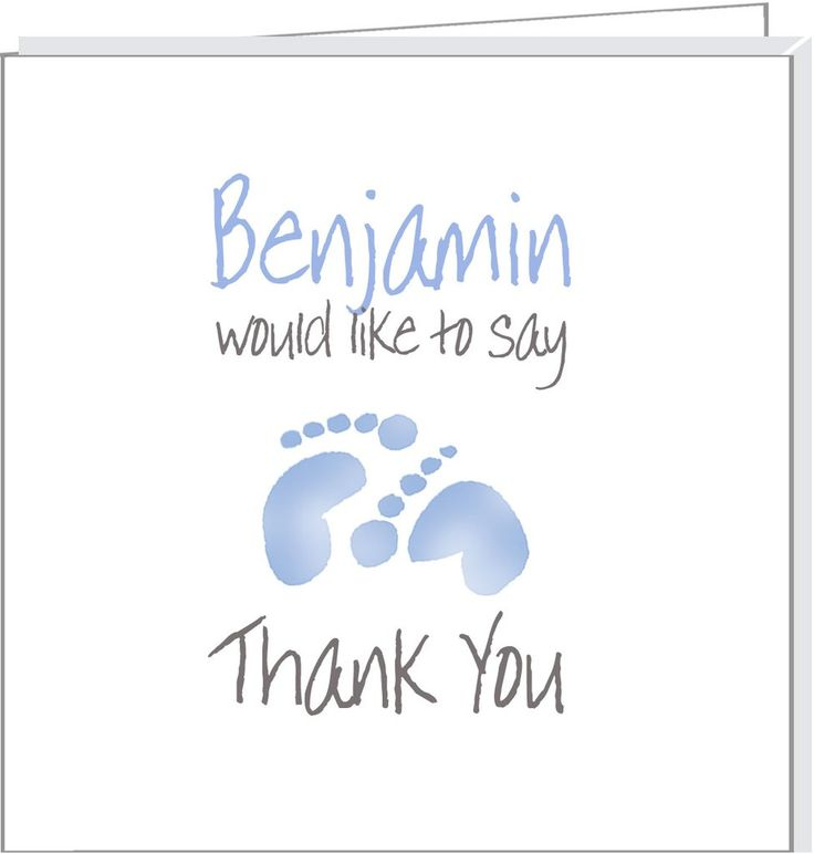 Personalised thank you cards with blue footprints