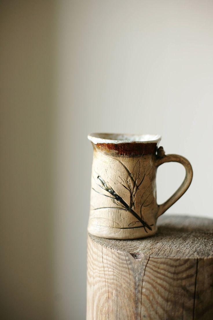 brown ceramic mug, botanical mug, sage mug, brown mug, brown glazed mug, garden mug, boho brown mug, mug with sage, boho mug, rustic mug by NorthernHerbs on Etsy