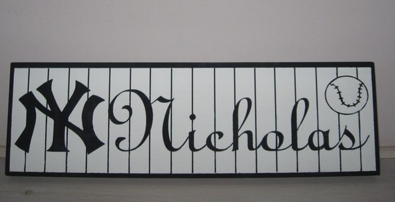 Personalized NY Yankee Name Sign Baseball Room by KreationswithaK, $25.50