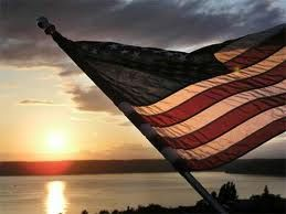American flag at sunset.