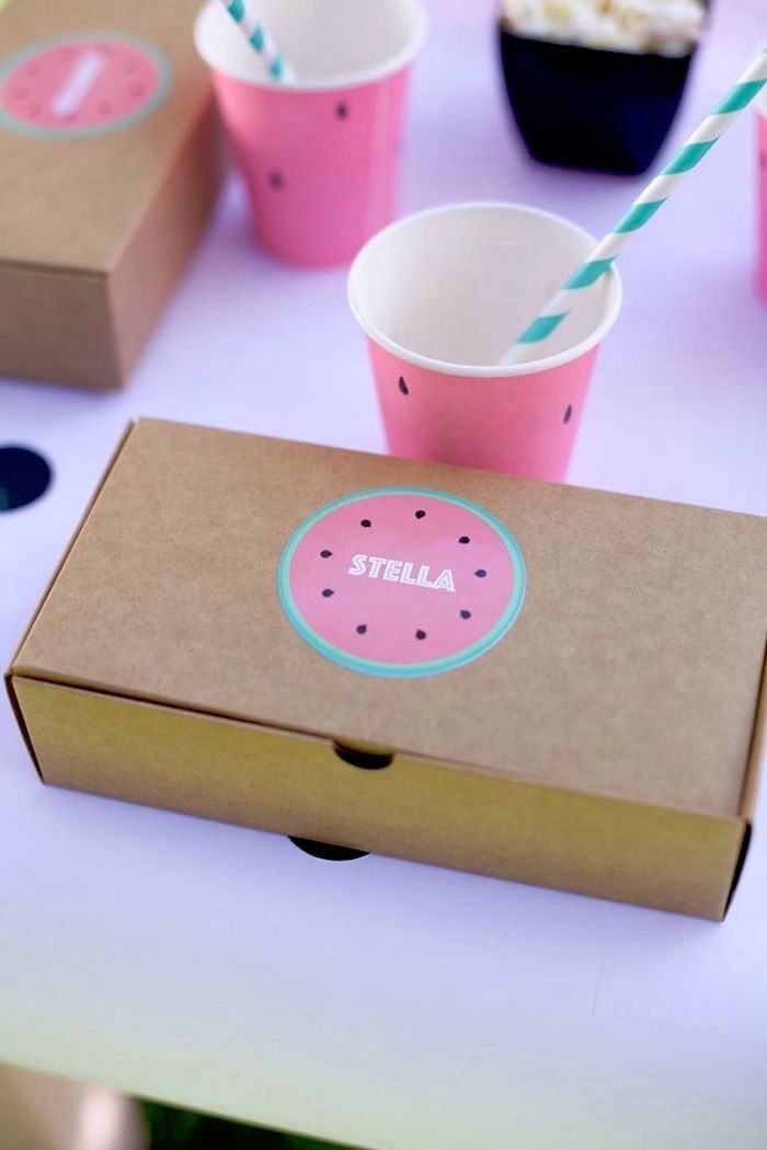 """Bento box with personalized sticker from """"One in a Melon"""" Watermelon Birthday Party at Kara's Party Ideas."""