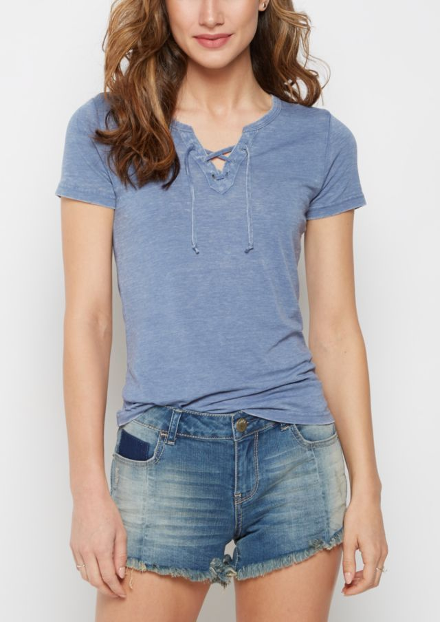 image of Light Blue Washed Lace-Up Burnout Tee