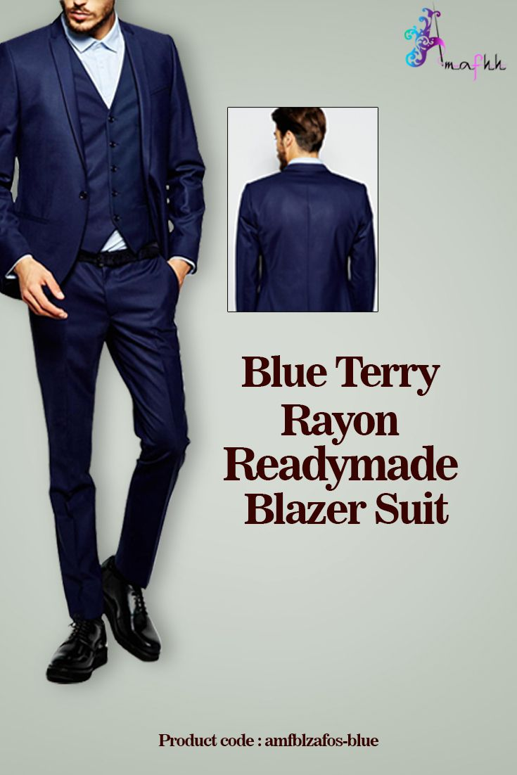 Simple yet elegant party wears this Terry Rayon Blazer Suit in Blue. #suit #rayonsuit #mensuit #instastyle  https://goo.gl/NM4ke7