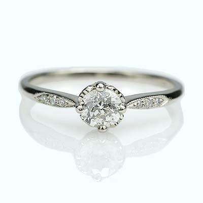 Replica Edwardian Engagement ring set with an antique diamond - 3323-07