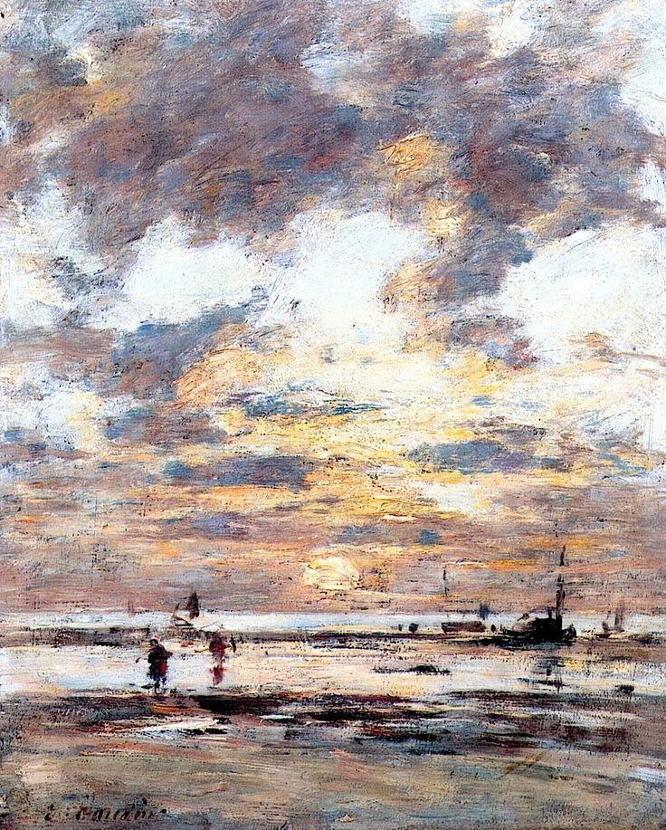 Near Trouville, Low Tide, Sunset Eugène-Louis Boudin - circa 1885-1890