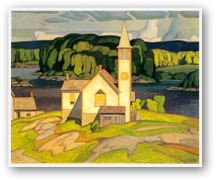 Anglican Church at Magnetawan by A.J. Casson. Love this. Love the Group of Seven