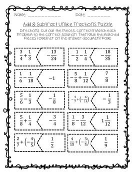 give your kinesthetic learners a hands on activity with the adding  give your kinesthetic learners a hands on activity with the adding and  subtracting unlike fractions puzzle have students cut out