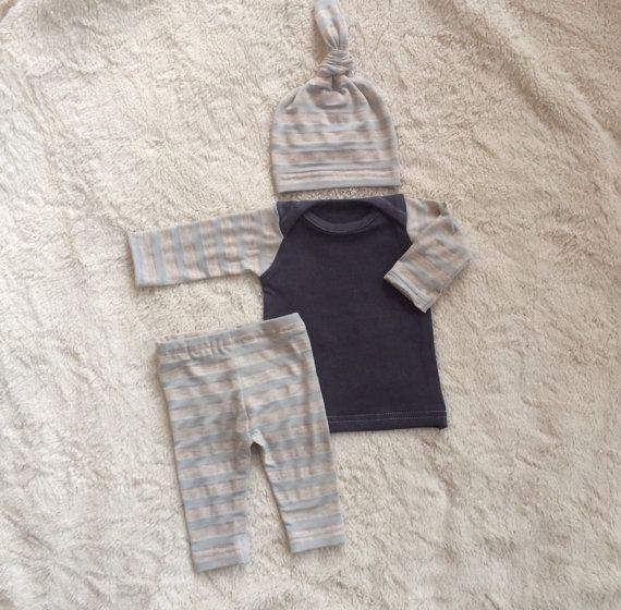 newborn boy take home outfit and hat in light by LemonJuicebrand