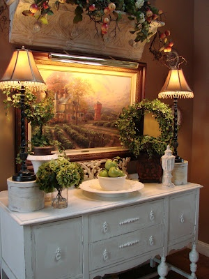 A Lovely Mix Of French And Rustic Country Decor :) I Would Switch Out The  Painting For A Mirror, But Either Way, Itu0027s Beautiful!