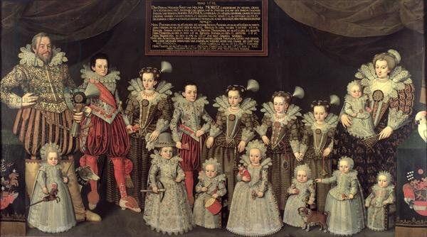 Erich August : Landgrave Maurice de Hesse avec sa seconde femme et ses 14 enfants - 1618/1628 huile sur toile Darmstadt Hessiches Landemuseum