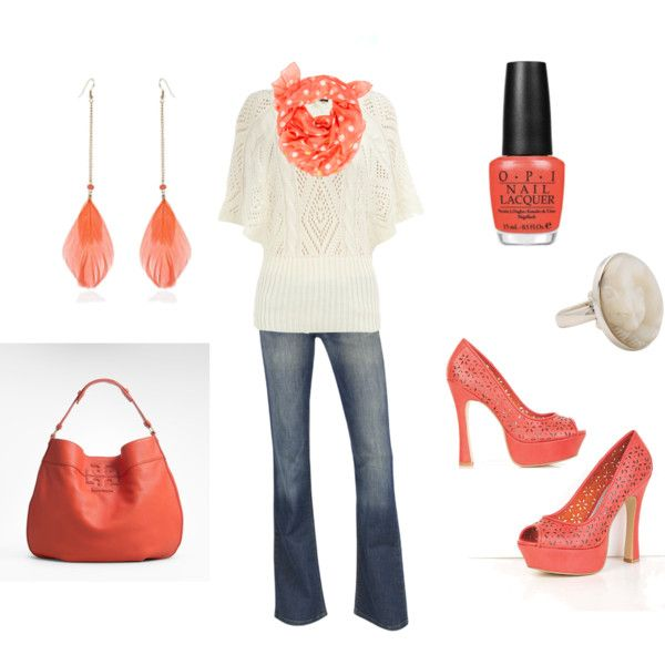 This is cute. Liek the coral: Date Night, Clothing Obsession, Coral Very Pretty, Coral Orange, Coral Colors, Cute Woman Outfits, Earrings, Coralveri Pretty, Coral Accent
