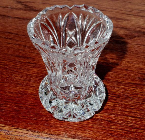 This Is A Lovely Vintage Clear Heavy Cut Lead Crystal Toothpick Holder Or Flat Tumbler