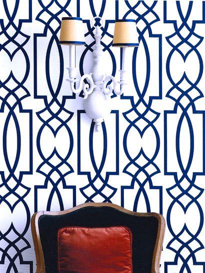 Eddie Ross: Amazing vignette with Antonina Vella Dolce Vita Wallpaper in Navy Blue, vintage double ...