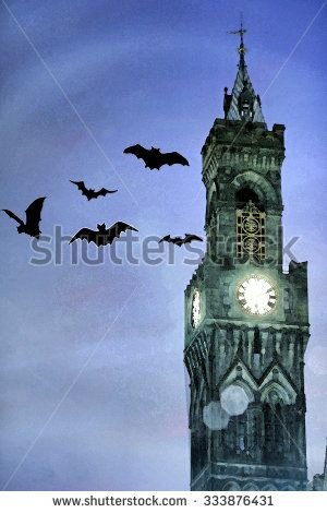 Bats flying around the clock tower of Bradford Town Hall