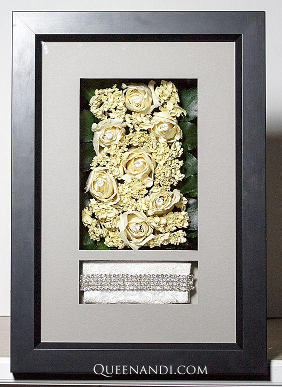 Transform your wedding flowers into a lasting work of art! The Obrien Wedding shadowbox showcases @larsonjuhl frame - Brooklyn Black, @nbframing mat - Fiori Alp (First Foreground and Background). #queenandi #floralpreservation #weddingflowers