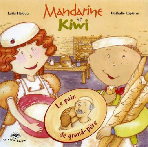 Le pain de grand-père (série Mandarine et Kiwi) - Le Grand-papa de Mandarine et Kiwi est boulanger. Ce matin, il leur montre à faire du pain. Les enfants apprennent d'où vient la farine et à quoi sert la levure. Ils pétrissent la pâte et attendent qu'elle lève. Et pour finir, ils se régaleront de bon pain chaud, miam!