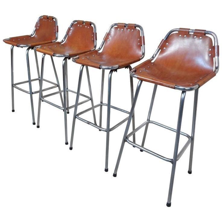 Selected by Charlotte Perriand for the Les Arcs Ski Resort, Four High Bar Stools | 1stdibs.com