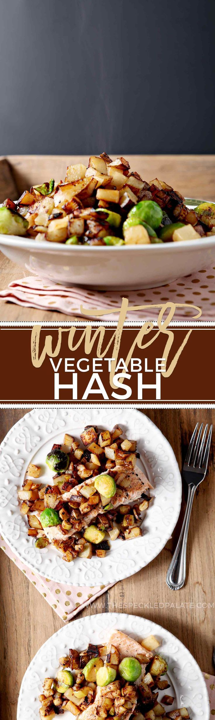 Let's make Winter Vegetable Hash! This hash features winter veggies like potato, purple turnip and Brussels sprouts and pairs with a tart Granny Smith apple hash to top your favorite protein. Apples cook in olive oil with Dijon mustard, then are kept warm while the potatoes and turnips crisp up and soften. Add Brussels sprouts to the mix and cook until browned. Enjoy the wintertime vegetable harvest by enjoying Winter Vegetable Hash with dinner.