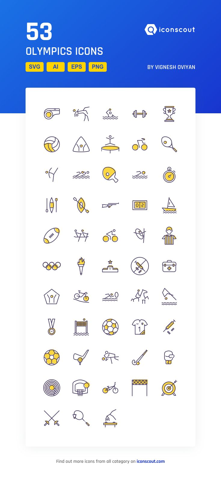 Olympics  Icon Pack - 53 Filled Outline Icons