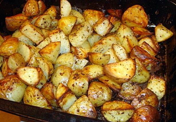 Greek potatoes. I used to make these when I was doing a temporary job in a Greek restaurant, I was only 16 then.