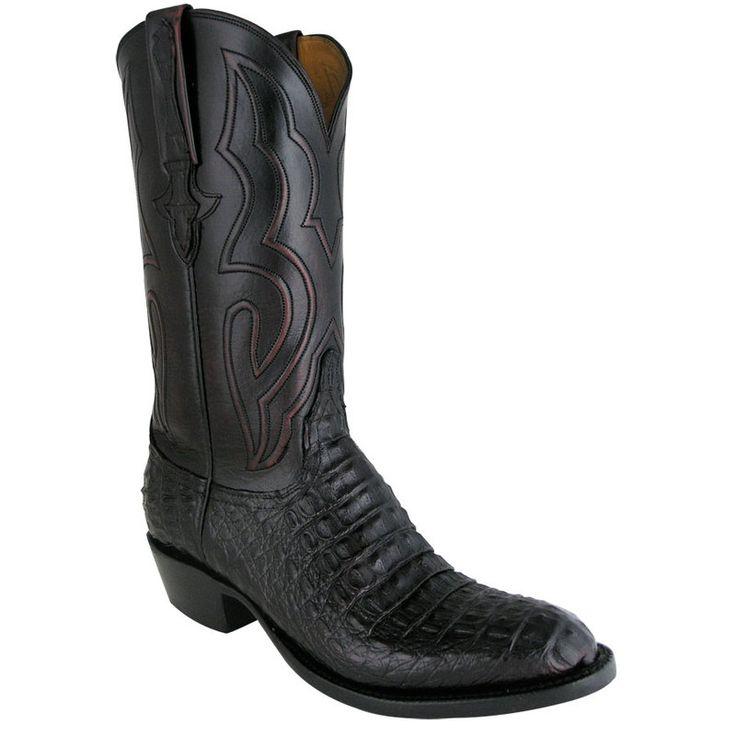 Lucchese Mens Hornback Caiman Boots - Black Cherry
