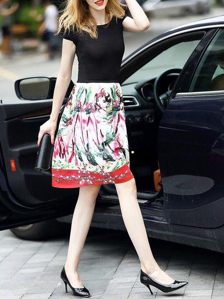 Printed Linen Mini Dress