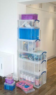 Files & Paper Storage Box - 64 Ltr - Heavy Duty Plastic Storage Boxes | Plastic Storage Crates | Clear Plastic Storage Boxes