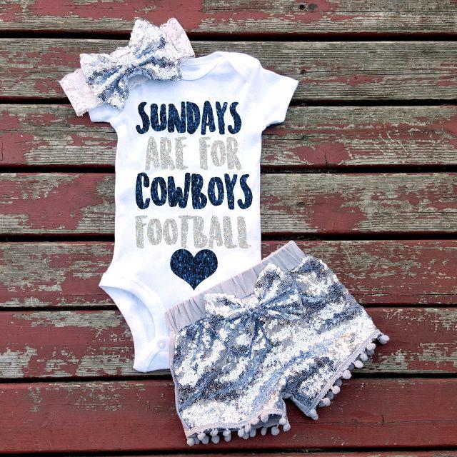 Sundays Are For Cowboys Football Baby Girl Bodysuit