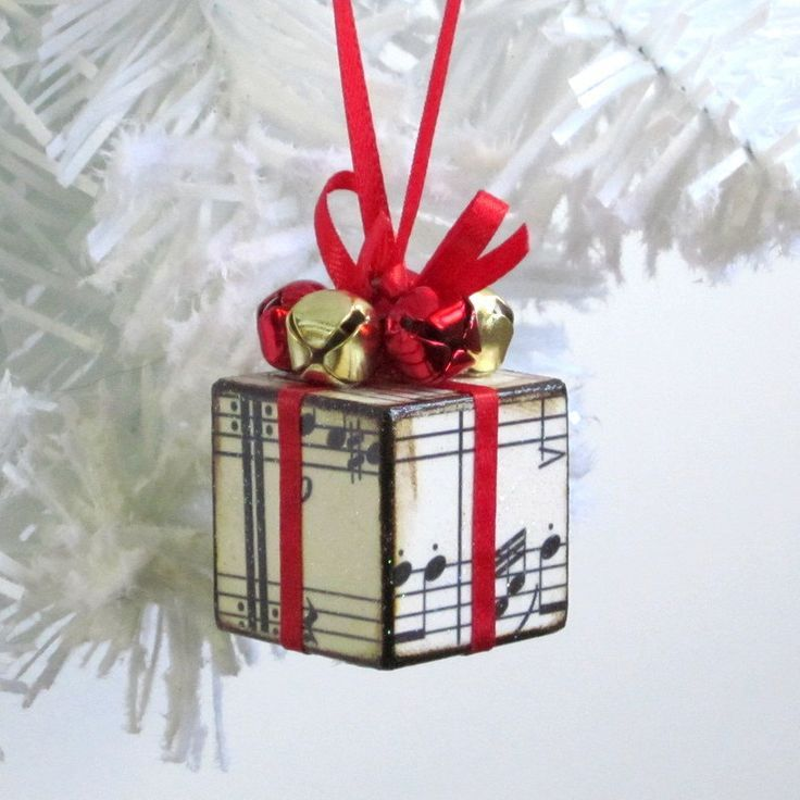 wooden block christmas crafts | Christmas ornament wood block decoupaged with sheet music.