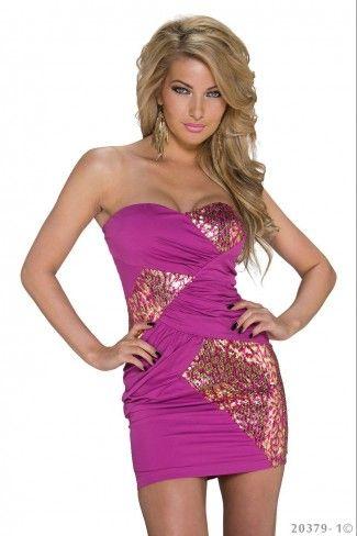 Φόρεμα με χρυσό animal print - Φούξια Χρυσό