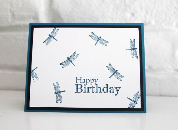 Dragonfly Happy Birthday Card for Men by LaurasPaperCreations