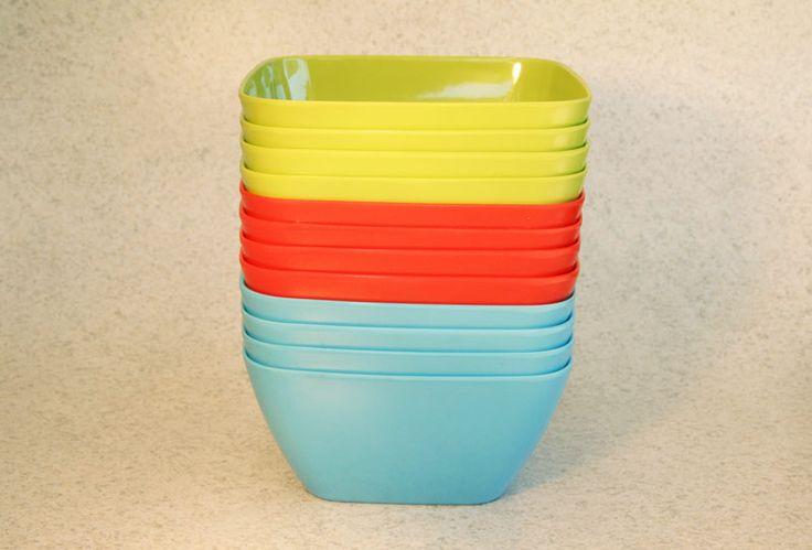 Plastic/Melamine square bowl, 3 colours (4 pack), Assistive Style $10
