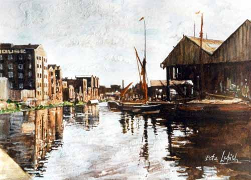 Pete Lapish - View downstream from Leeds Bridge - Leeds - West Yorkshire - England - 1900