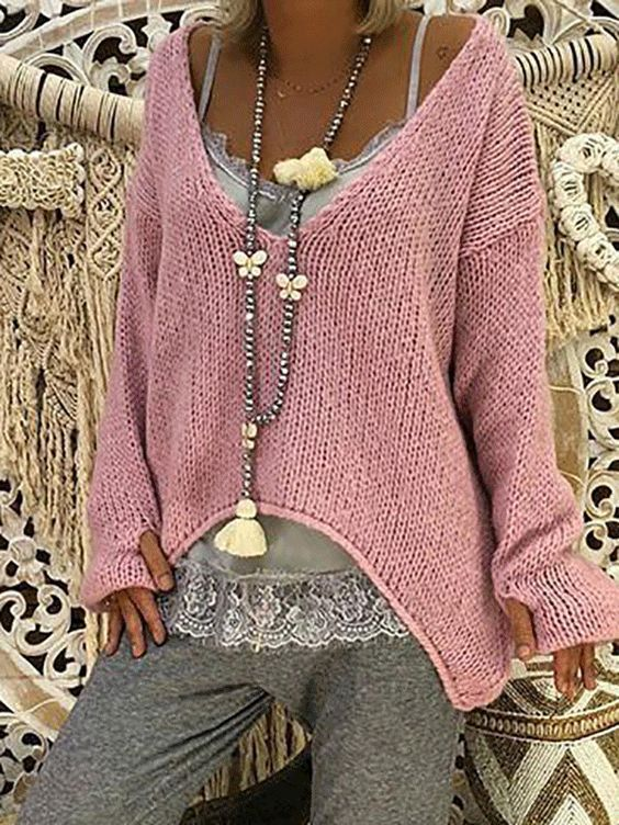 V Neck Long Sleeve Plain Knitting Sweaters – #Knit… – #jeune #Knit #knitting #…