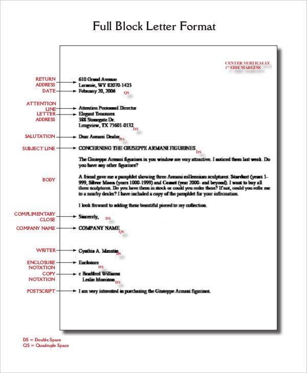 block letter format template free word pdf documents download writing formal business cover templates