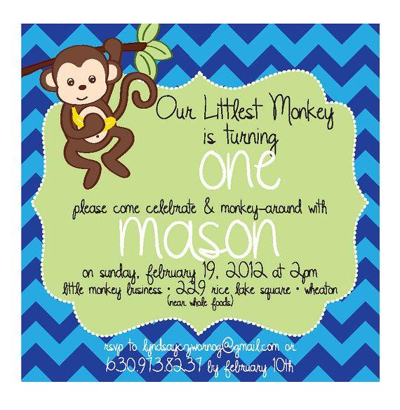 Chevron Monkey Themed 1st Birthday Invitation