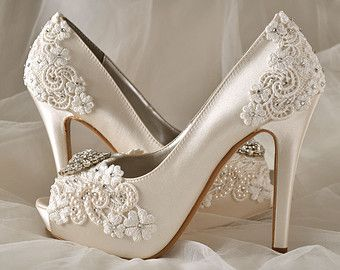 "Silk Lace Wedding Shoes - Custom Color Choices- Wedding Peep Toe 4"" Heels, Women's Bridal Shoes"