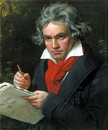 Ludwig van Beethoven, travaillant à la Missa Solemnis, portrait de Joseph Karl Stieler, 1820.