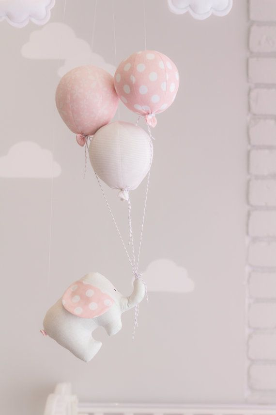 Elephant and Balloon Baby Mobile Pink and Grey by sunshineandvodka
