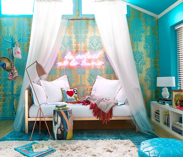 using bold wallpaper saturated colors cozy layers and whimsical details interior designer janet gridley orchestrates the ultimate crash pad for a girl