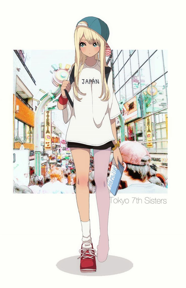 Cool nice image of a rebel traveling girl with blonde hair and cap Plus · Cheveux BlondsFillesDessinsManga