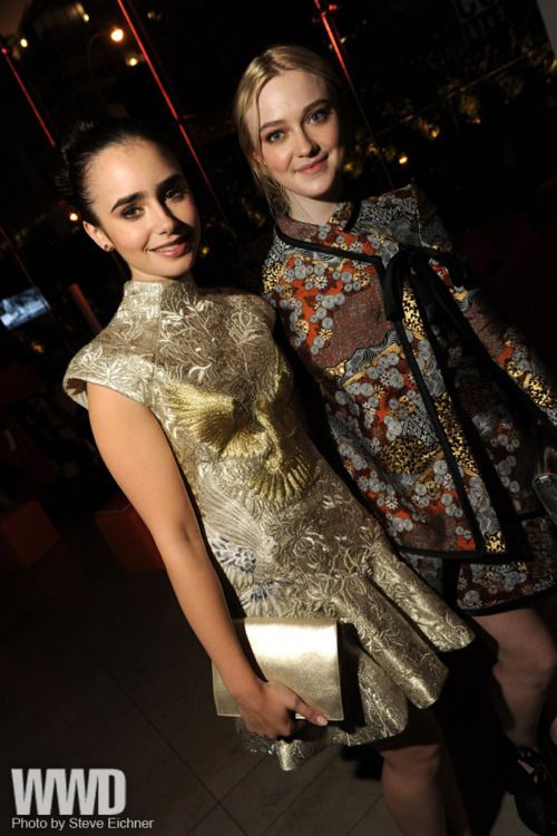 Lily Collins in Marchesa with Dakota Fanning in Proenza Schouler.