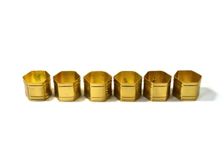 Vintage Brass Hexagon Napkin Rings Brass Napkin Rings Set of 6 Set of Gold Napkin Rings Hexagon Napkin Rings by JudysJunktion on Etsy https://www.etsy.com/listing/473490344/vintage-brass-hexagon-napkin-rings-brass