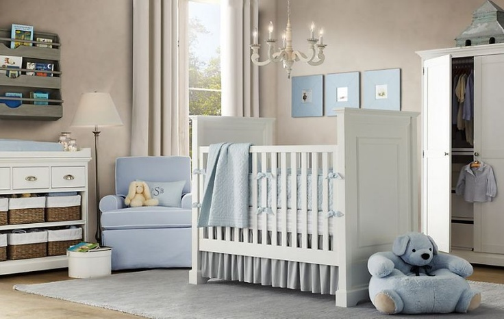 Really diggin the tan walls with blue/teal accessories. Boy or girl, thus bun won't be pink!