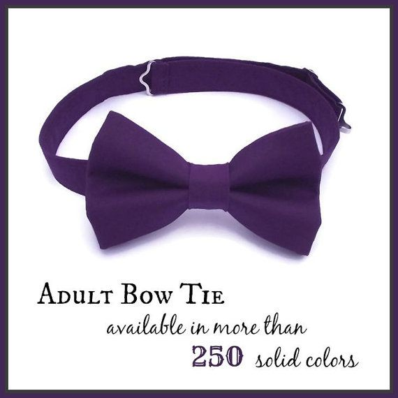 Mens Bow Tie, ANY solid color, Adult Bow Tie, Groom, Wedding Party Favor, Best Man Gift, Teen Bow Tie, Blush, Black, Grey, Plum,